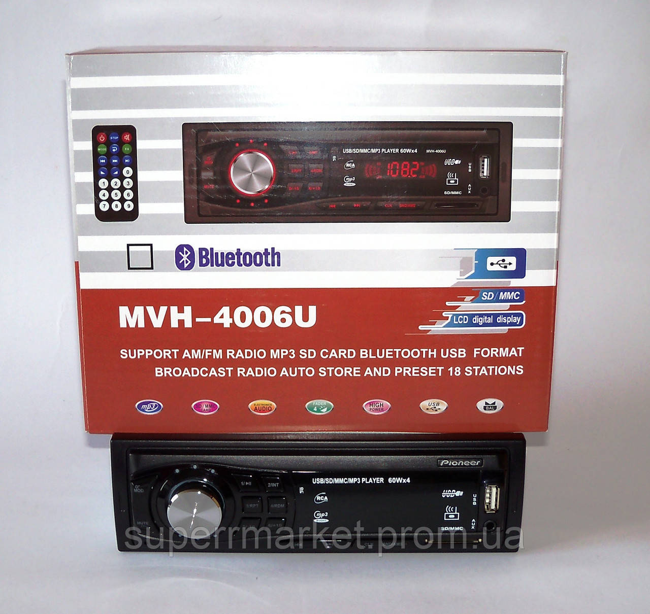 Автомагнитола Pioneer MVH-4006U 60W MP3 SD USB AUX FM