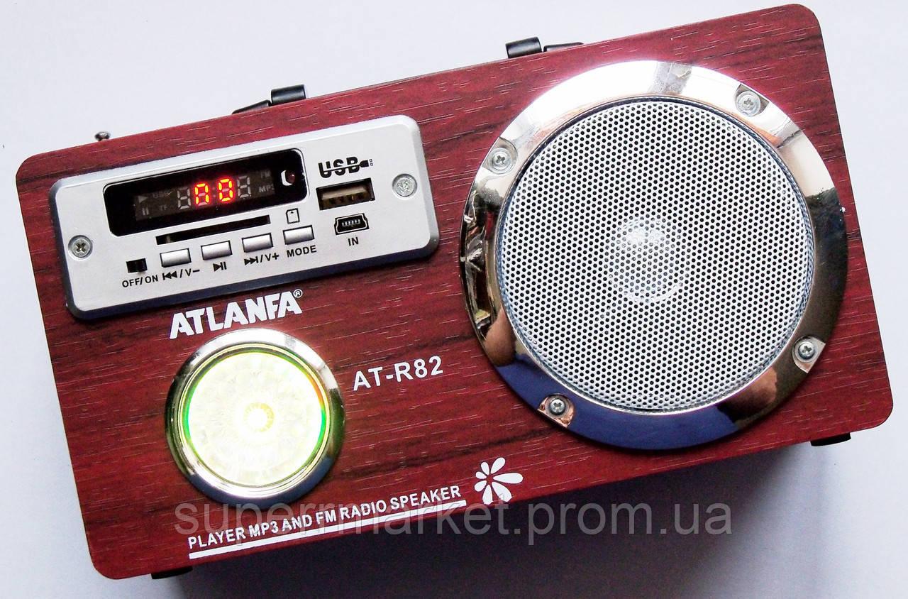 Акустика Atlanfa AT-R82, MP3 SD USB FM, красное дерево