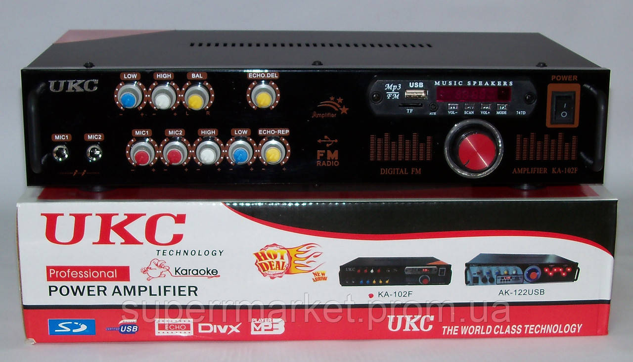 Рэковый усилитель мощности 2*90W UKC KA-102F MP3 FM Karaoke