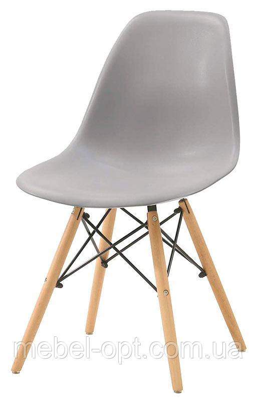 Стул дизайнерский Nik Charles & Ray Eames DSW серый 10 на деревянных буковых ножках