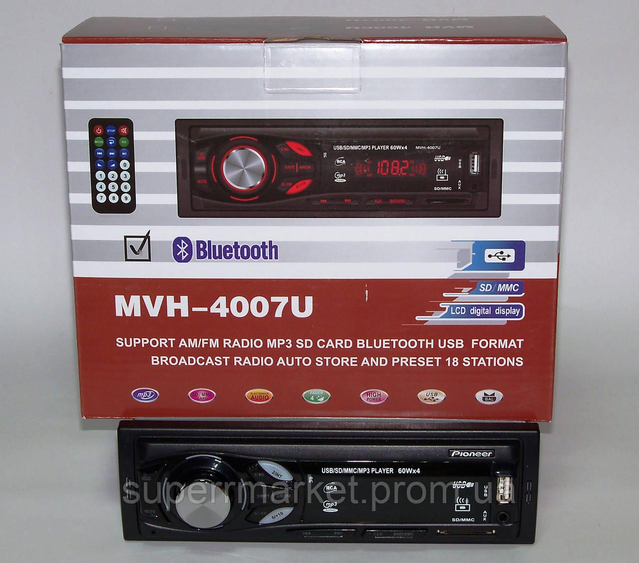 Автомагнитола Pioneer MVH-4007U 60W ISO FM MP3 SD MMC USB AUX CLK