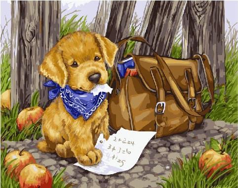Картина по номерам Щенок почтальон, 40x50 см., Brushme