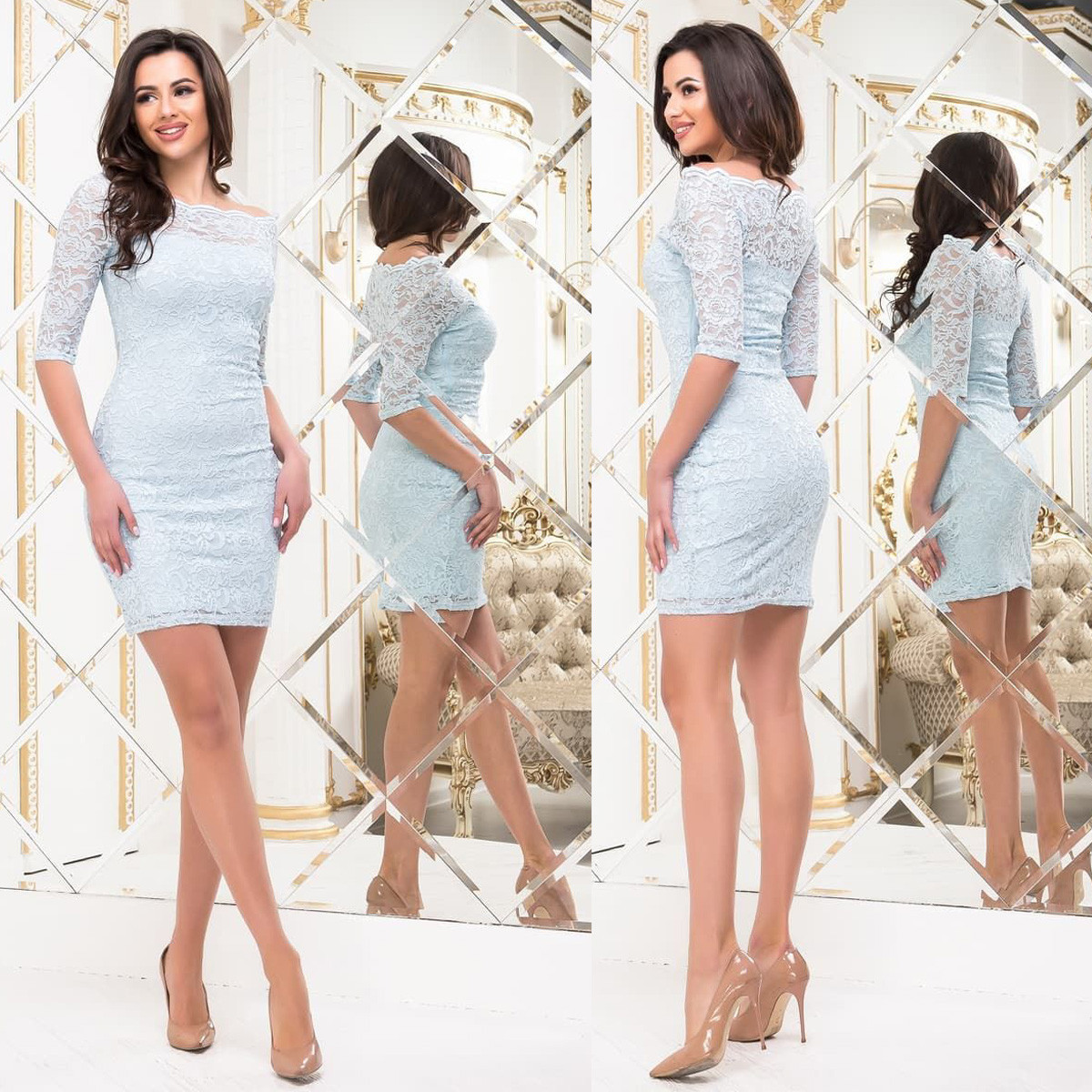 """Голубое гипюровое облегающее платье """"Бонита"""""""
