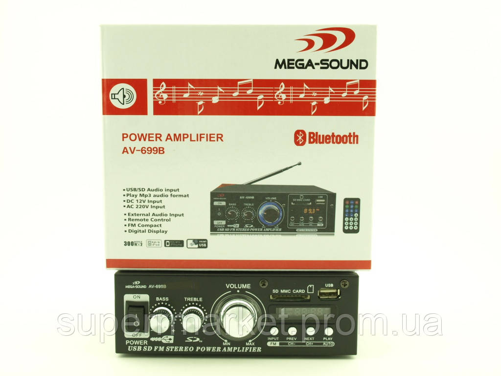 Усилитель звука 30W Mega-Sound AV-699B c Bluetooth FM MP3