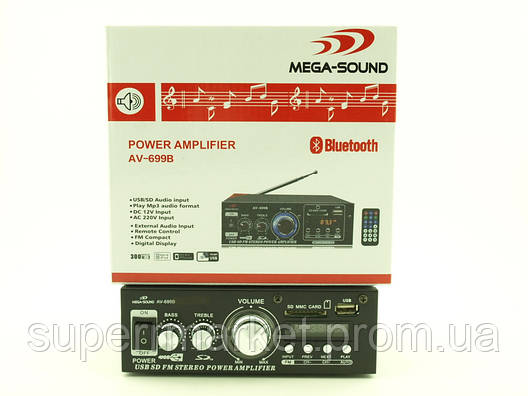 Усилитель звука 30W Mega-Sound AV-699B c Bluetooth FM MP3, фото 2