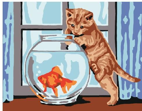 Картина по номерам Кошка и рыбка, 40x50 см., Brushme