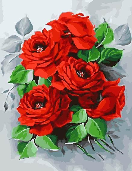 Картина по номерам Алые розы, 40x50 см., Brushme