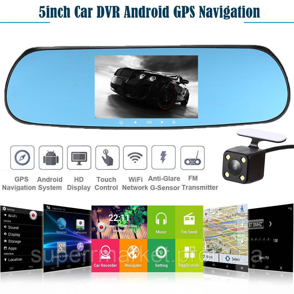 "Car DVR CT600 Android WiFi GPS зеркало c регистратором, сенсорный экран 5.0"", 2 камеры"