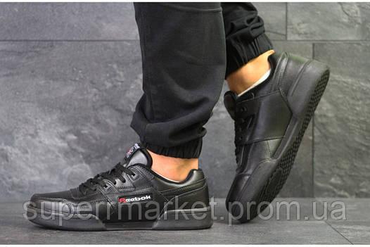 Кроссовки Reebok, черные, кожа, фото 2
