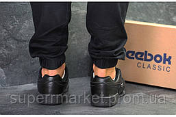 Кроссовки Reebok, черные, кожа, фото 3
