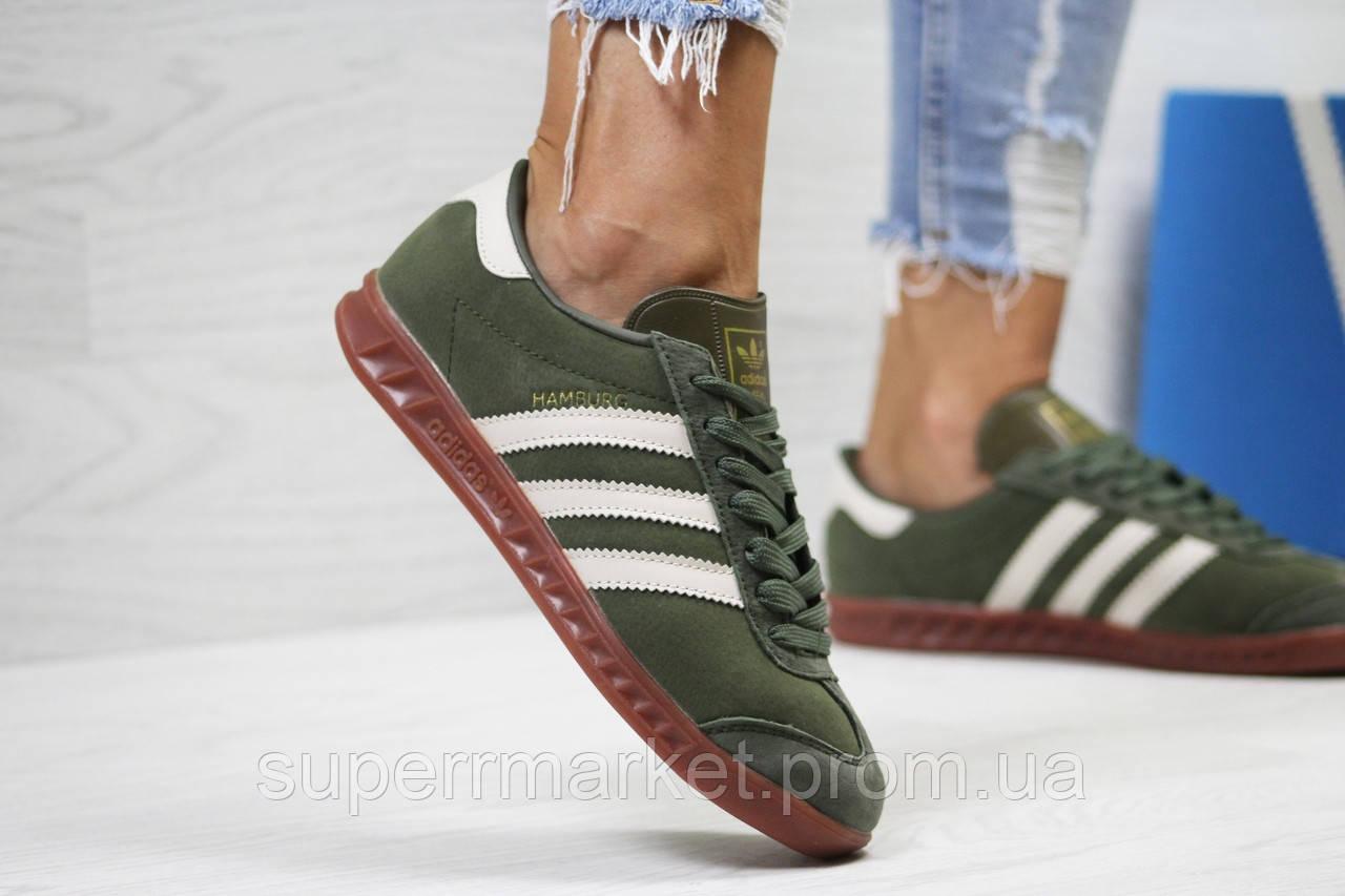 Кроссовки Adidas, темно зеленые. Код 6027