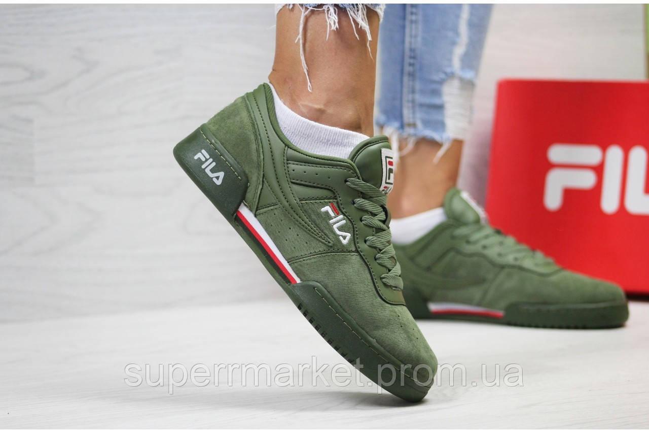Кроссовки в стиле Fila зеленые, код 6033