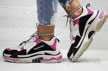 Кроссовки в стиле Balenciaga черные с малиновым. Код 6041, фото 2