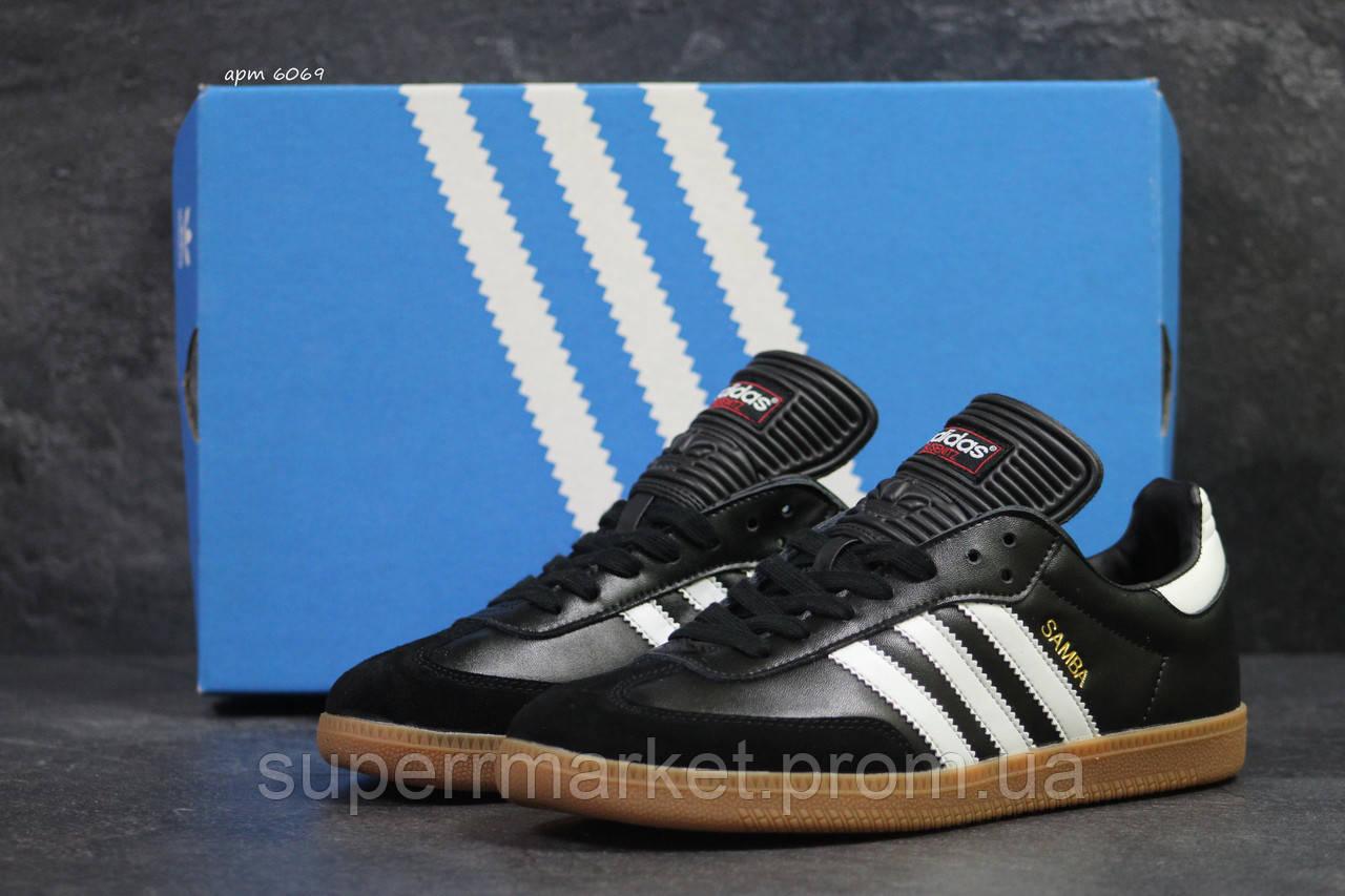 Кроссовки Adidas Samba черно белые, код6069
