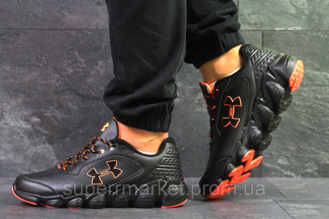 Кроссовки Under Armour черные с оранжевым, код6078