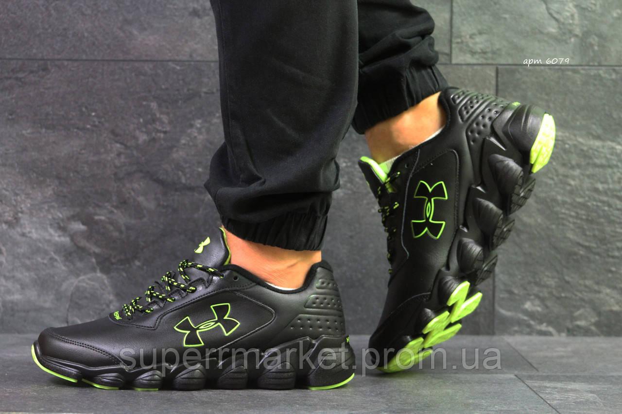 Кроссовки Under Armour черные с зеленым, код6079