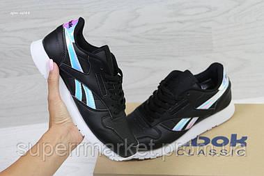 Кроссовки в стиле Reebok черные с серебром,кожа, код6088