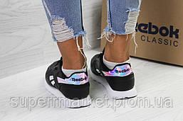 Кроссовки в стиле Reebok черные с серебром,кожа, код6088, фото 3
