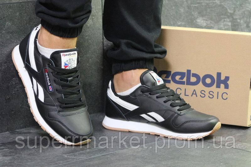 Кроссовки Reebok Classic черные кожа, код6092