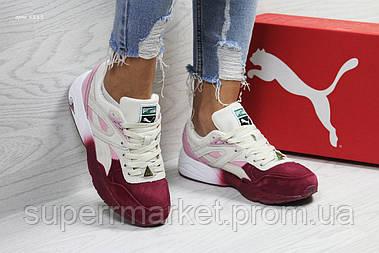 Кроссовки в стиле Puma Trinomic бежевые с бордовым замшевые, код6111