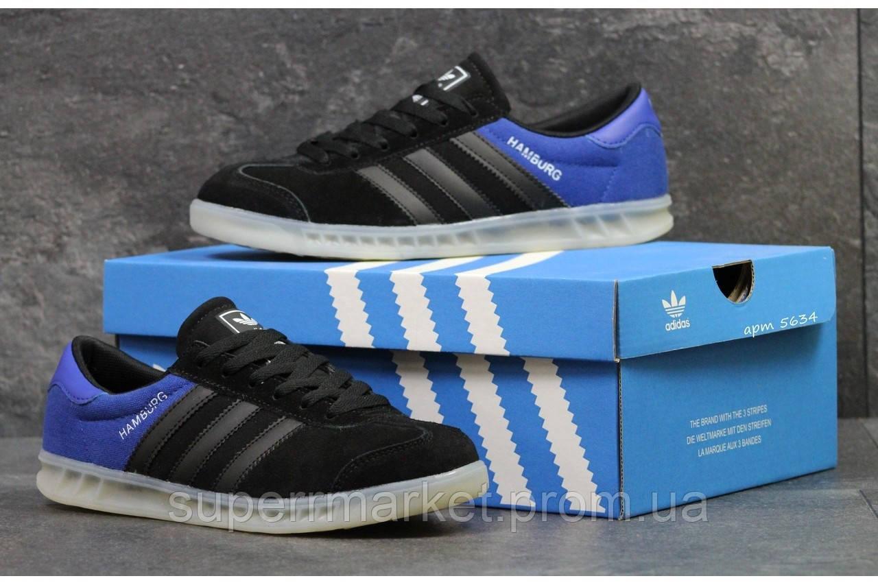 Кроссовки Adidas черные с синим, код5634