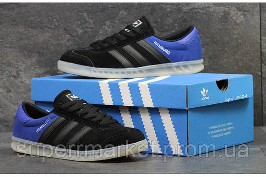 Кроссовки Adidas черные с синим, код5634, фото 2
