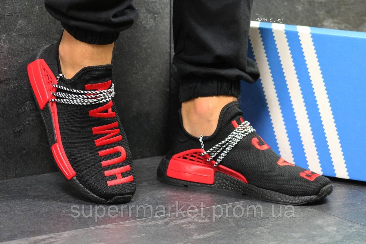Кроссовки Adidas NMD Human Race черные с красным. Код 5751