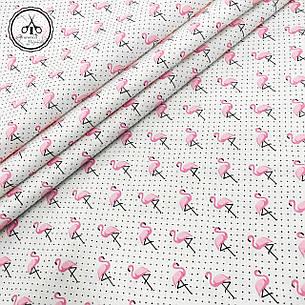 """Польская хлопковая ткань """"фламинго мелкие с точкой на белом"""", фото 2"""