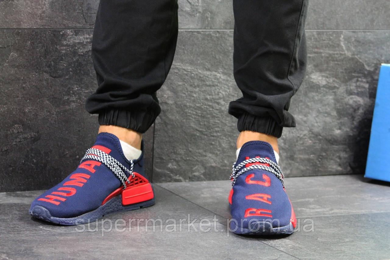 Кроссовки Adidas NMD Human Race синие с красным. Код 5820