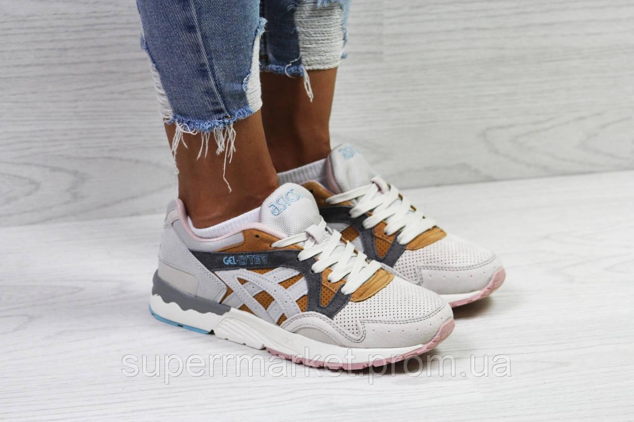Кроссовки в стиле Asics беж с коричневым. р36, код5823