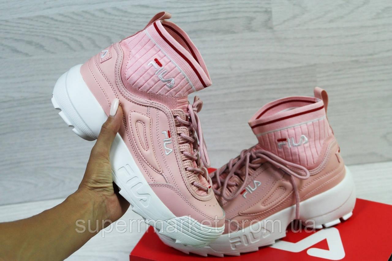 Кроссовки в стиле Fila розовые, код5853