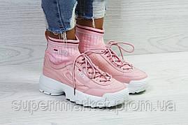 Кроссовки в стиле Fila розовые, код5853, фото 2