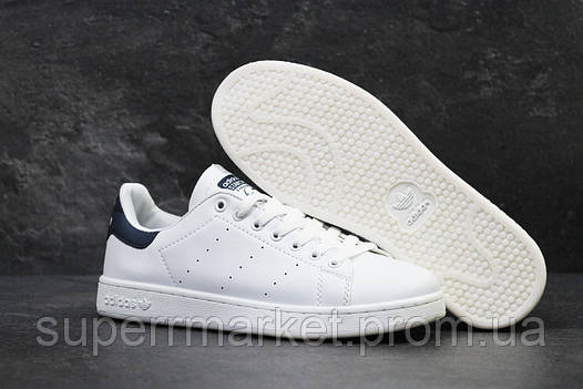 Кроссовки Adidas Stan Smith белые с синим, код5881, фото 2