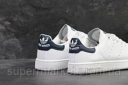 Кроссовки Adidas Stan Smith белые с синим, код5881, фото 3
