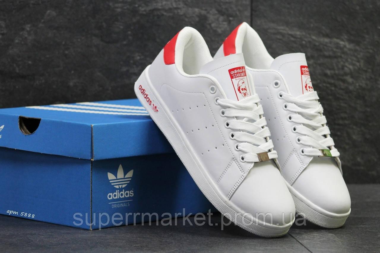 Кроссовки Adidas Stan Smith белые с красным, код5888