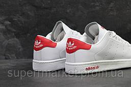 Кроссовки Adidas Stan Smith белые с красным, код5888, фото 3