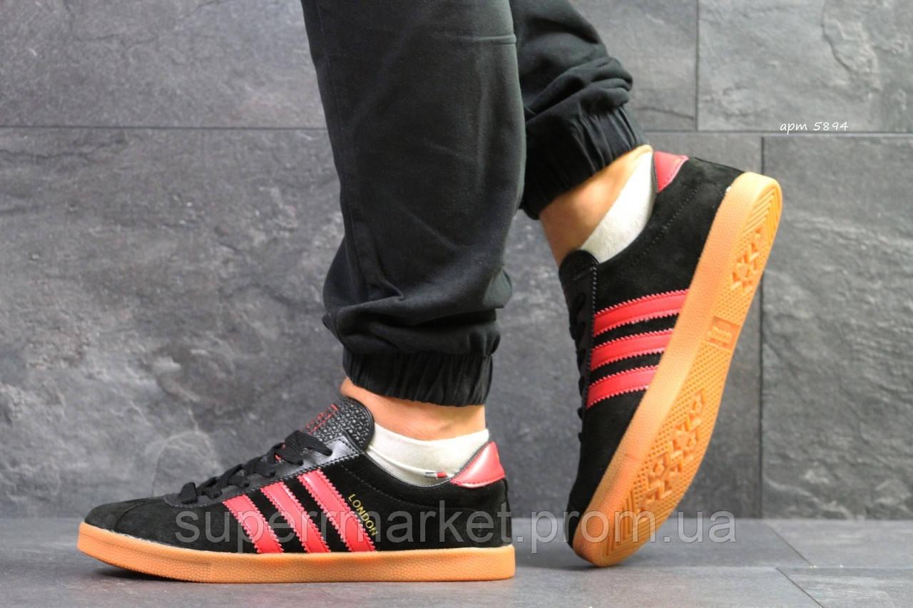 Кроссовки Adidas London черные с красным, код 5894