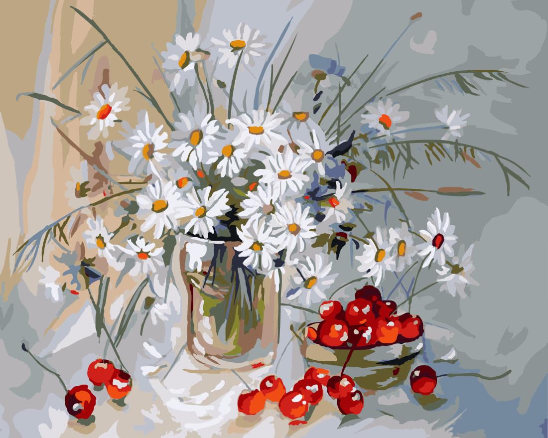 Картина по номерам Ромашки и вишня, 40x50 см., Brushme