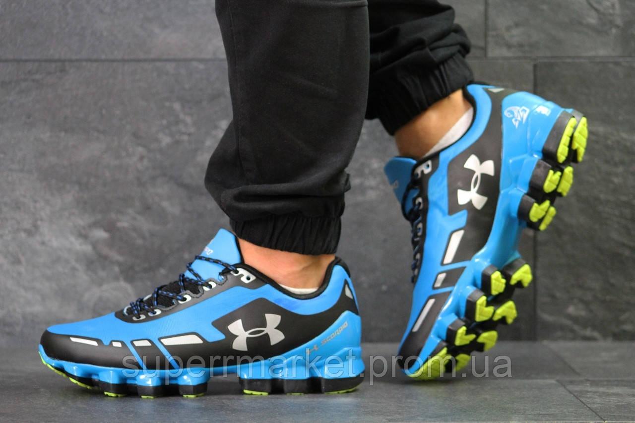Кроссовки в стиле Under Armour Scorpio голубые с черным, код5950