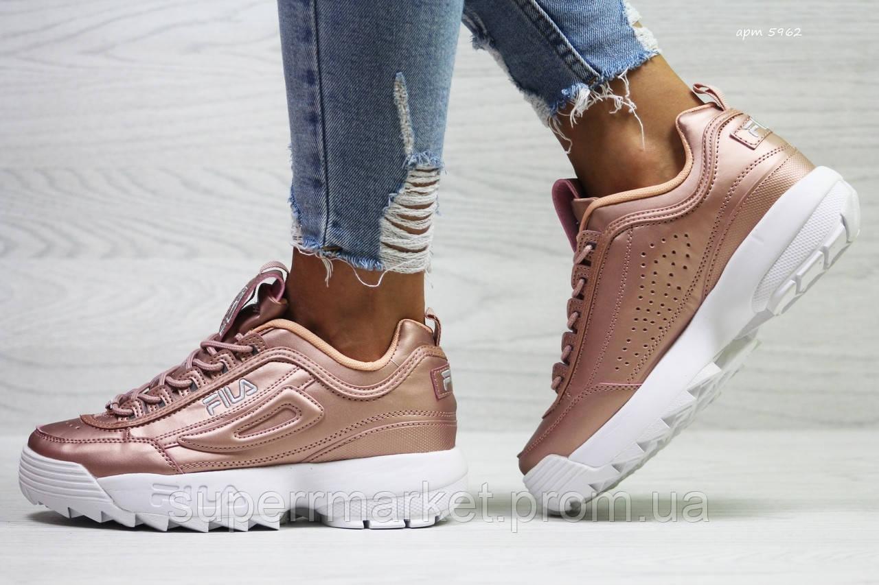 Кроссовки в стиле Fila розовые, код5962