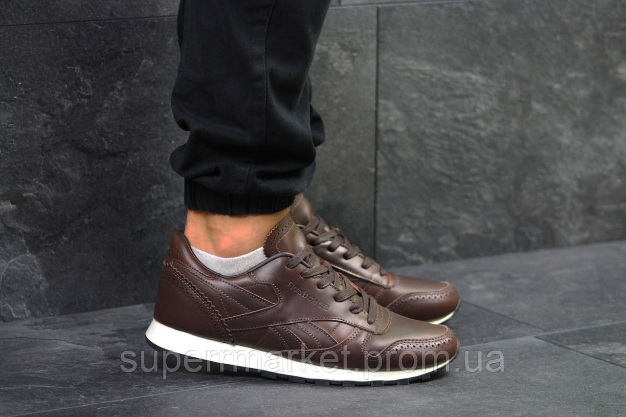 Кроссовки Reebok Classic кожа, темно-коричневые, код5976