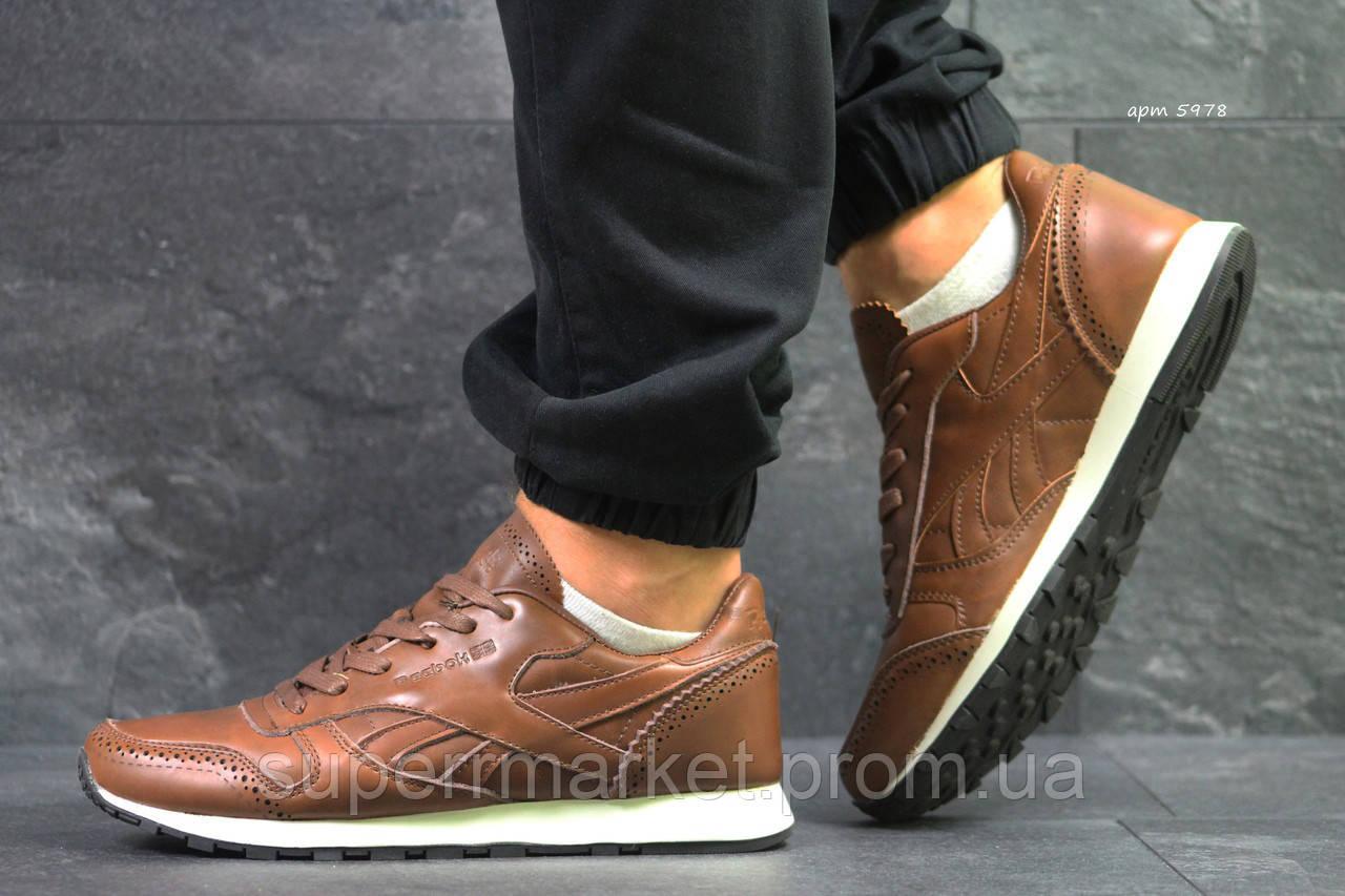 Кроссовки Reebok Classic кожа, светло-коричневые, код5978