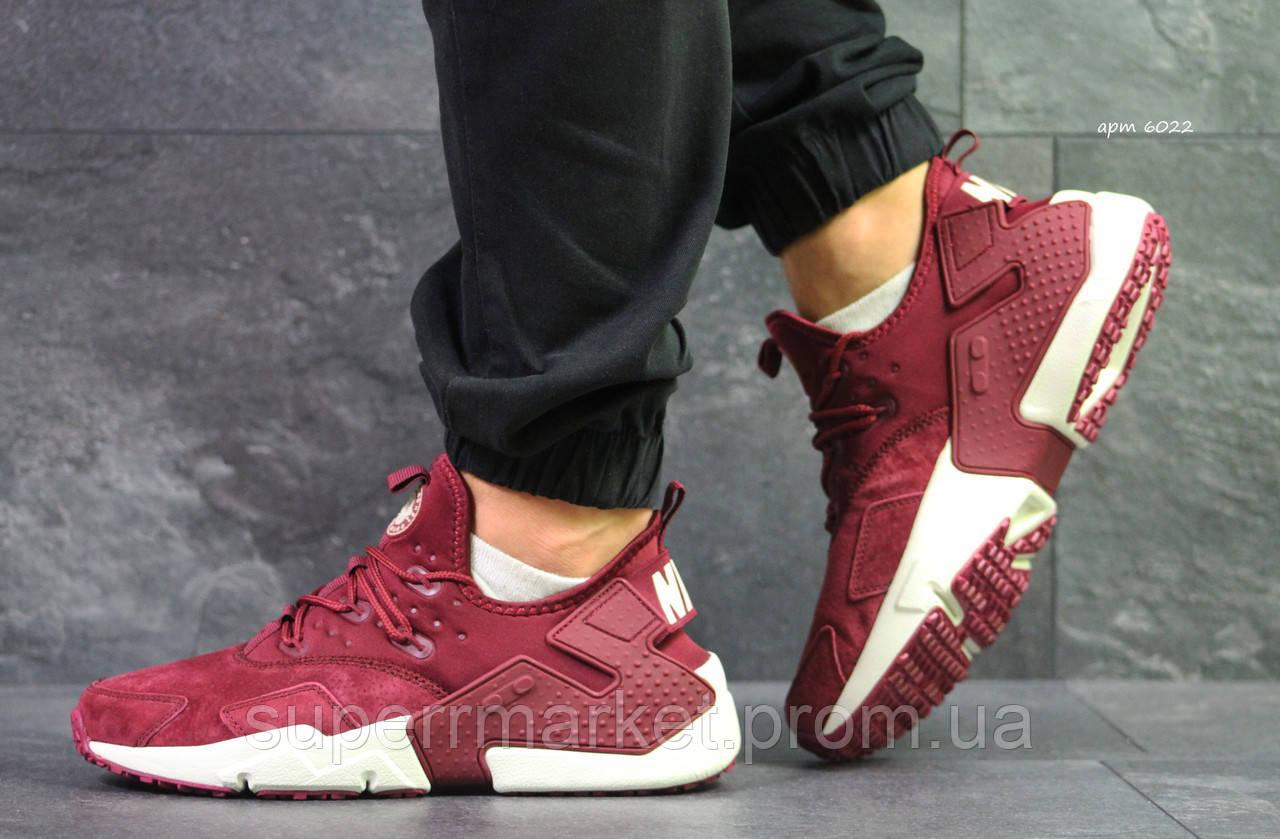 Кроссовки Nike Huarache бордовые. Код 6022