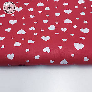 """Польская хлопковая ткань """"россыпь сердец на красном"""", фото 2"""