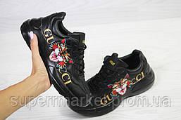 Кроссовки в стиле GUCCI, черные. Код 6148, фото 2