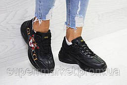Кроссовки в стиле GUCCI, черные. Код 6148, фото 3