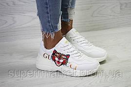 Кроссовки в стиле GUCCI,белые. Код 6149, фото 3