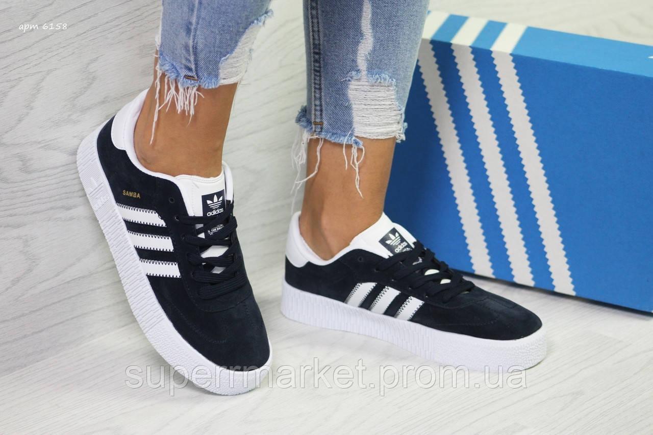 Кроссовки в стиле Adidas Samba темно-синие, код6158
