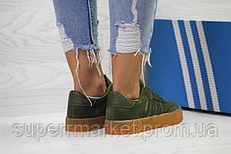 Кроссовки в стиле Adidas Samba темно-зеленые, код6160, фото 2