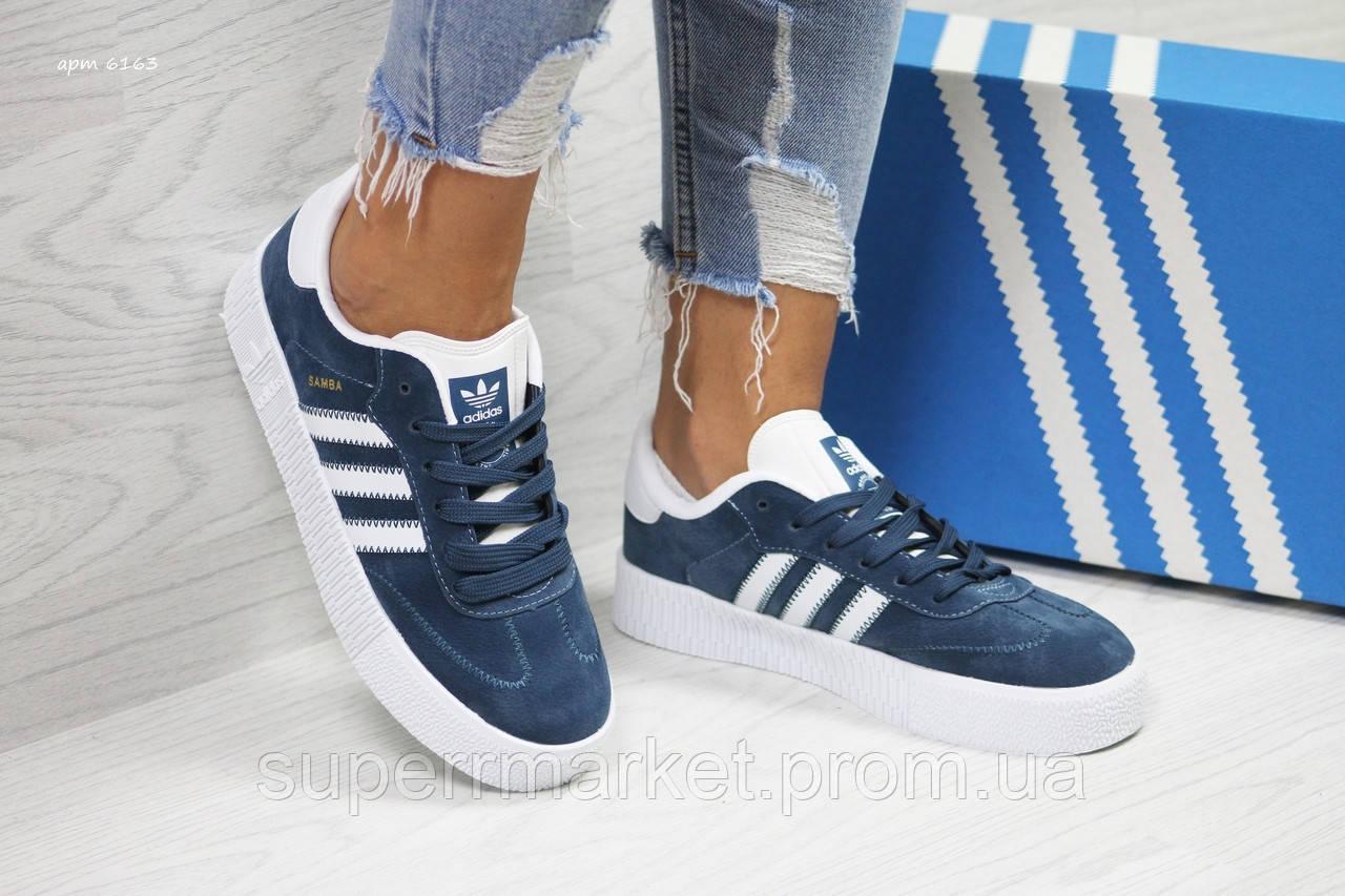 Кроссовки Adidas Samba синие. Код 6163